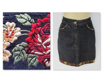 KENZO JEANS 1990 Vintage floral embroidery skirt - Black - high waist - Boho Gypsy