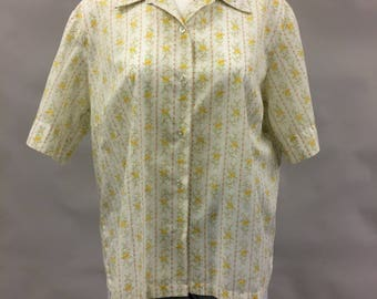 1960s 1970s Miss K Floral Short Sleeve Up Down Shirt   Size 42   Modern Size 16   Size Extra Large