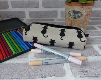 cat shadow pencil case, cat pencil case, back to school, school supplies, cat lover, black lining