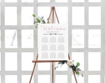 Seating Chart Wedding Template- DIY Seating Chart- Seating Chart Template- Wedding Seating Chart-Table Seating Chart-Printable Wedding Chart