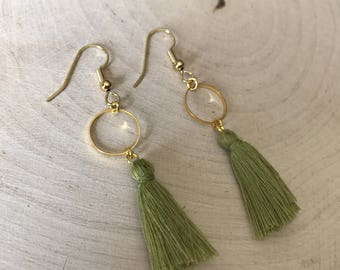 Green tassel and gold connector earrings