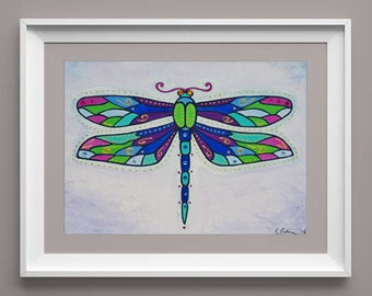 Decorative dragonfly, patterned wings, dragonfly, colourful, high quality print, 350gsm paper