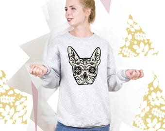 Halloween Sweatshirt Frenchie Sweatshirt Halloween Sweater Day of the Dead Clothing Mexican Skull Shirt Printed Jumper Baggy Pullover PA3033