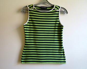 MARIMEKKO Womens Shirt Nautical Top Lime Green Black Striped Sailor Blouse Marine Sweater Sleeveless Cotton Top Small Size
