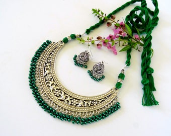 Green Boho Choker Necklace, Green and Silver Statement Necklace, Indian necklace with Jhumka, Green Statement Choker, Thread Back Necklace.
