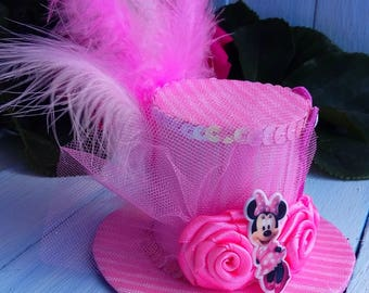 Mini Top Hat Headband Minnie Mouse Mini Top Hat Fascinator Pink Mini Top Hat Mad Hatter Minnie Mouse Hat Black Hat Tea Party Hat Baby Shower