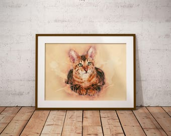 Tabby Cat Painting Striped Cat Art Orange Tabby Cat Watercolor Wall Art Living Room Print Cute Cat Picture Cat Poster Cat Lover Gift