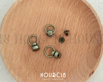 Screw Back Round Head Rivet Stud with O Ring 30 Sets  | Antique Bronze