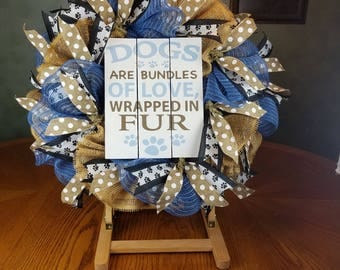 Dog Wreath, Animal Wreath, Every day Wreath,  Wall Decor,  Front Door Decor, Door Wreath,Front Door Wreath, Deco Mesh Wreath