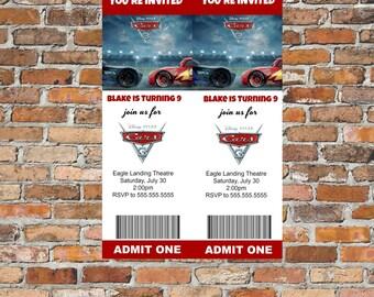 Cars 3 Movie Ticket Invite, Digital Print, Cars 3, Movie Ticket, Birthday Party