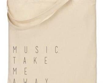 Music take me away / tote bag / music bag / over night bag / errand bag / shopping bag / travel bag