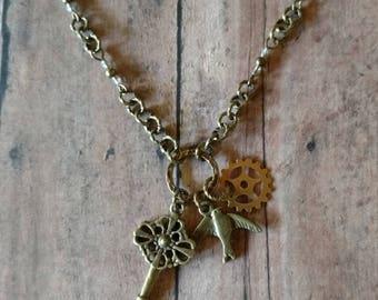 STEAMPUNK brass Gear Sparrow Victorian skeleton key CHARM NECKLACE