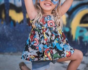 Avengers Inspired TOP Birthday Shirt Little Girl Toddler Marvel Superhero SIZES 3M-5T Captain America Hulk Iron Man Thor Spider Man