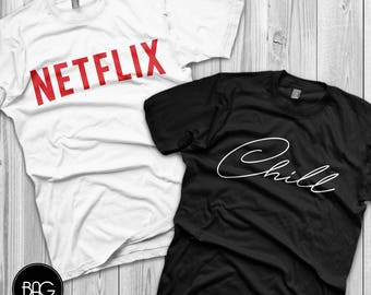 Matching couple shirts Netflix and chill costume couple shirts love shirts couple shirts ( SOLD SEPARATELY )