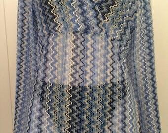 Zigzag crotchet knit see thru hoodie/long bell sleeves