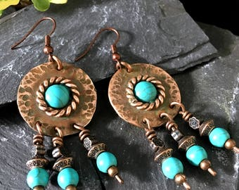 copper chandelier earrings / textured gypsy copper jewellery / bohemian rustic copper earrings / / turquoise beads  / gift box / for Her