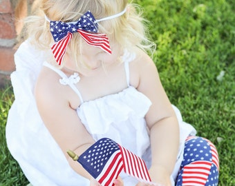 4th of July Bow, Patriotic Sailor Bow, Flag Bow, Newborn Hair Bow, Stars and Stripes,  Sailor Bow Clip, First Fourth of July Outfit, Hairbow