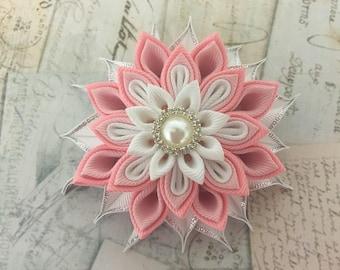 Kanzashi Flower Hair Clip. Ribbon/ Fabric Flower. Pink Hair clip.