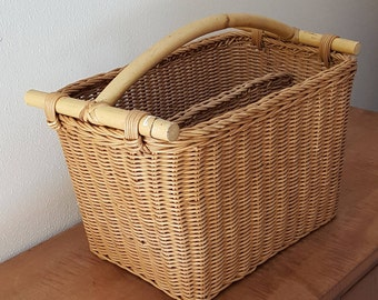 Magazine Rack~Vintage Handmade Bamboo and Rattan Magazine Rack~Large Organizer Basket Made in Indonesia