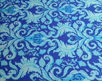 In the Garden of Earthly Delights-Damask Blue Cotton Fabric Designed by Studio KM for Free Spirit
