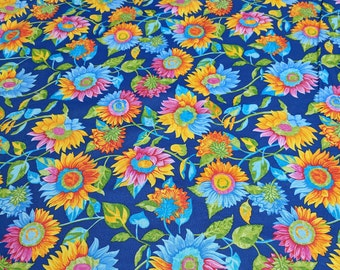 Butterflies are Free-Sunflowers on Blue Cotton Fabric from Paintbrush Studios