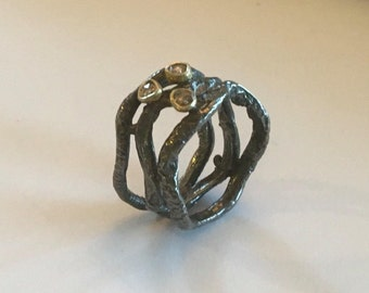 Diamond Oxidized Silver ring, Oxidized silver ring, Rough diamonds ring, Ring size 6.75, Triplet ring, Black diamonds ring, Raw diamond,