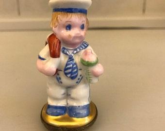 Limoges Sailor Boy Trinket Box, Hand Painted, Rare, Retired