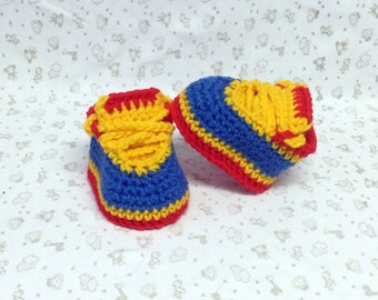 Crochet Nike Style Baby Shoes Red Blue