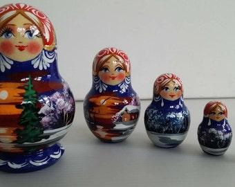 Very cute matryoshka winter landscape, Russian doll, nesting dolls 5 PCs