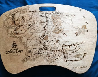 Map of Middle Earth Lap Desk with Pillow // Lord of the Rings // Hobbit // Geek Gift // Computer Furniture //