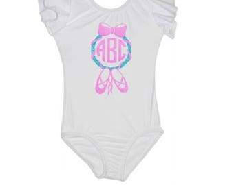 Ballet Monogram leotard - dance Leotard -  ballet leotard - toddler leotard - Child leotard - custom leotard  - girls leotard