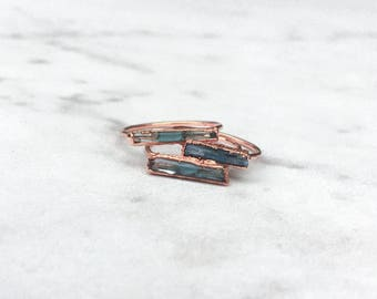 Rough Aquamarine Ring, Rose Gold Raw Aquamarine Ring, Blue Aquamarine Statement Ring, March Birthstone Ring, Boho, Raw Crystal Ring, Dainty