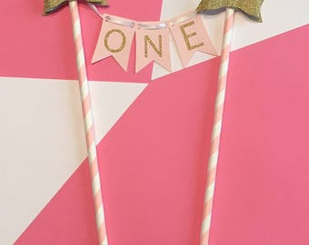 Pink Cake Topper for First Birthday | Glitter Gold Cake Topper | First Birthday Decorations | One Cake Topper