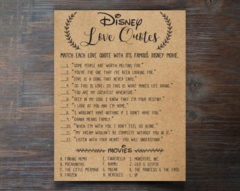 Disney Wedding Quotes Unique Disney Bridal Shower  Disney Love Quote Match  Printable