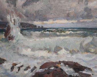 Original painting, Storm, Odessa artist, European Fine Art