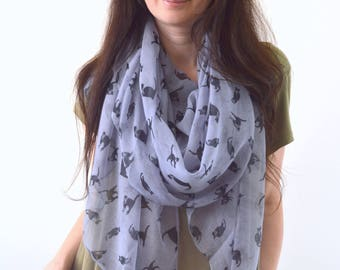 Cat Printed Scarf, Kitty Scarf, Summer Scarf, Fashion Scarf, Woman Scarf, Cat Scarf, Gift