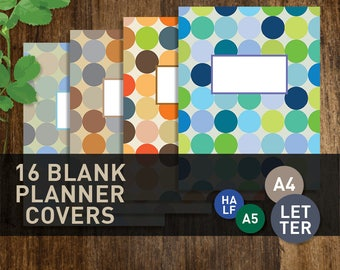 Planner Covers, PRINTABLE Planner Cover Inserts, Letter Half A4  A5 Calendar Template (#053)