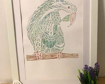 Parrot: handmade papercut