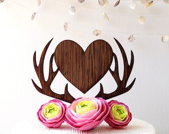 Wedding cake topper, deer antlers topper, antlers heart topper, cake topper, rustic wooden cake topper, woodland wedding decor