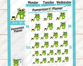 Lilly Pad cutting grass --- hand drawn --- planner stickers --- 224