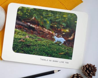 There's no bunny like you | Handmade greeting card made from reclaimed materials