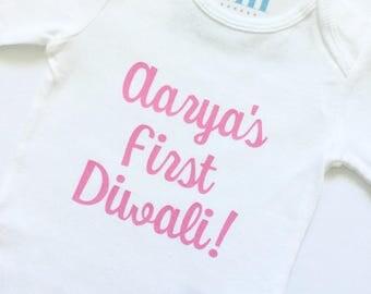 My 1st first Diwali bodysuit, Deepawali Desi, Happy Diwali, baby girl boy gift, fireworks, Hindu celebration, Sikh Punjabi Jain India Indian