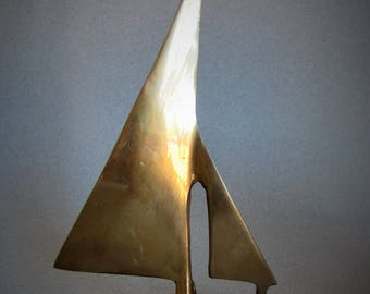 Brass Vintage Sail Boat Ornament- Small Modernist Simple Sailing Boat - Nautical / sea , ocean , salt water