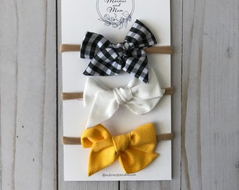 Baby girl bows, boutique hair bows, baby headband bow, fabric bow *Sunflower Picnic Collection*