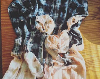 Distressed Bleached and FADED FLANNEL DRESS /oversized/ x-large / black and white/ grunge /drip dye
