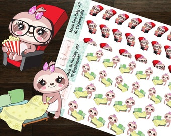 Sally the Sloth Doing Things (Movie, Making Bed) || Planner Stickers