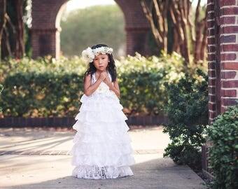 White First Communion Dress, Baptism Dress, Country Rustic Flower Girl Dress, Junior Bridesmaid Ruffle Dress, Princess Dress, Birthday Dress