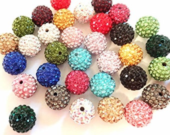 50 Quality Pave Rhinestone Disco Balls 8mm 10mm 12mm Shamballa Beads
