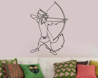 Robin Hood Wall Decal Custom Disney Character Vinyl Sticker Vintage Cartoon Art Archer Animal Decorations for Home Kids Boys Room Decor rnh1