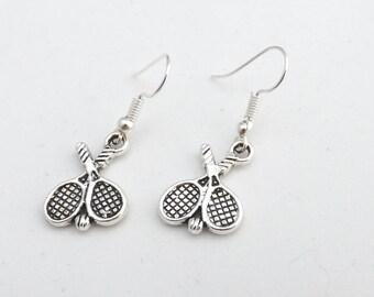 Wimbledon tennis earrings, open tennis earrings, tennis racket jewellery gift for her, tennis lover gift, tennis player or coach gift